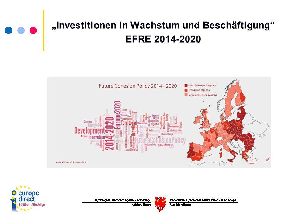 """""""Investitionen in Wachstum und Beschäftigung EFRE 2014-2020"""