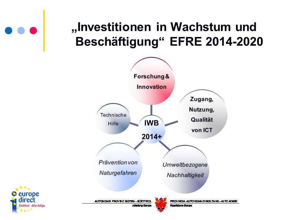 """IWB 2014+ Forschung & Innovation Zugang, Nutzung, Qualität von ICT Umweltbezogene Nachhaltigkeit Prävention von Naturgefahren Technische Hilfe """"Investitionen in Wachstum und Beschäftigung EFRE 2014-2020"""