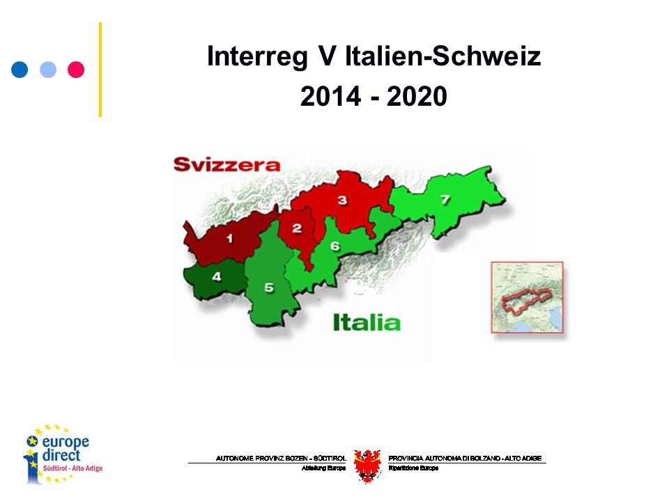 Interreg V Italien-Schweiz 2014 - 2020