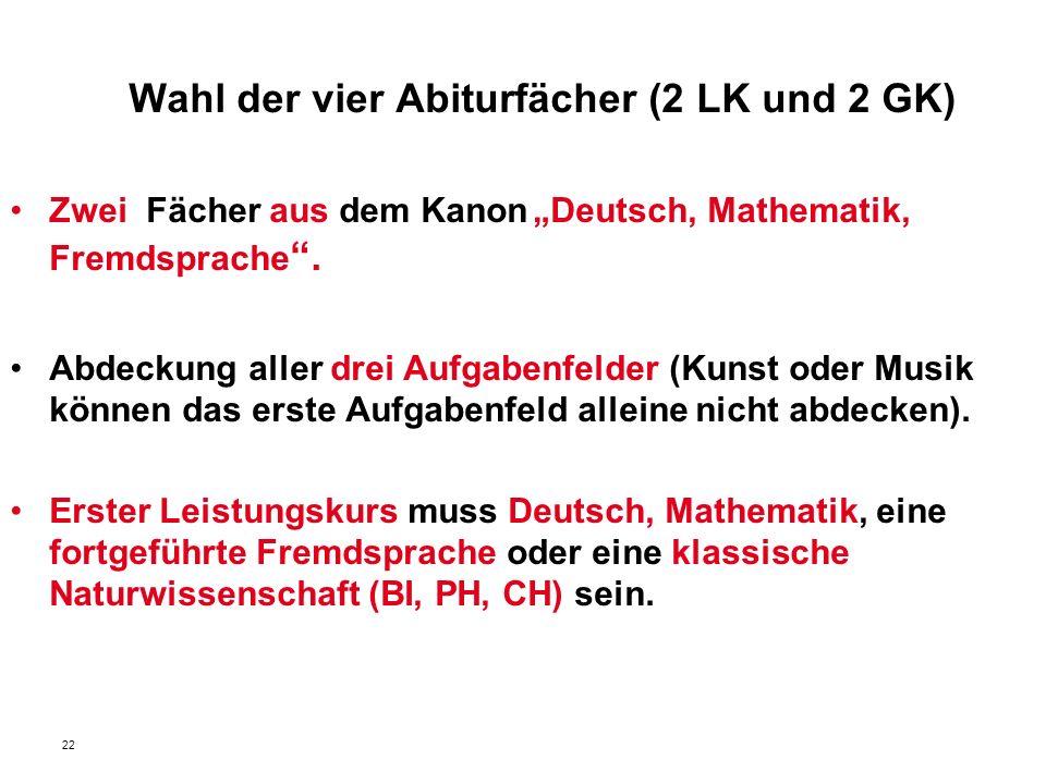 """22 Wahl der vier Abiturfächer (2 LK und 2 GK) Zwei Fächer aus dem Kanon""""Deutsch, Mathematik, Fremdsprache ."""