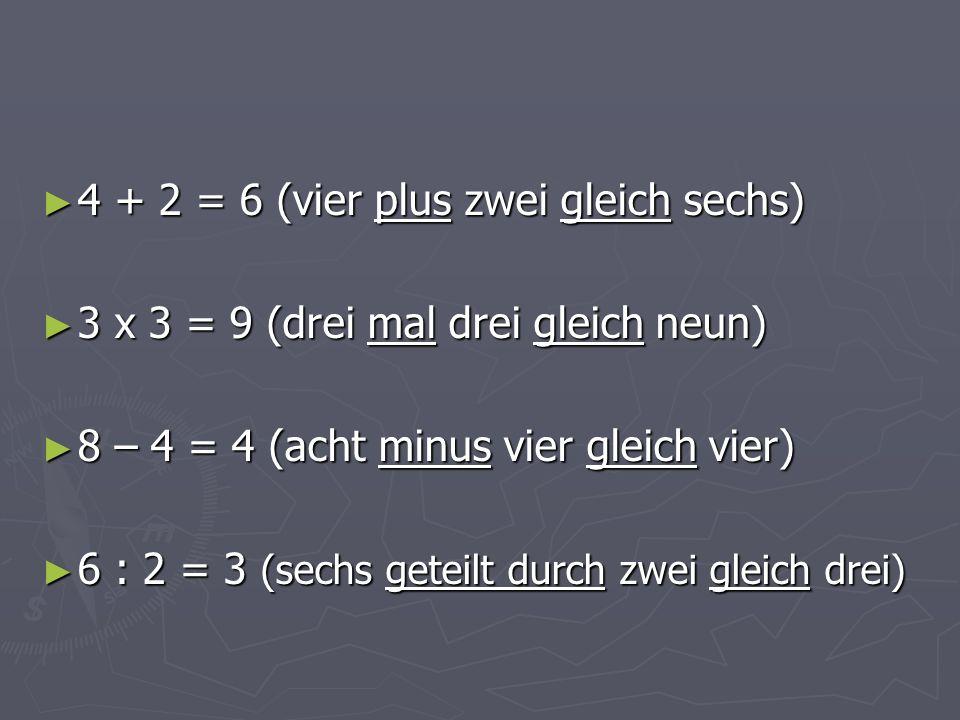 ► 4 + 2 = 6 (vier plus zwei gleich sechs) ► 3 x 3 = 9 (drei mal drei gleich neun) ► 8 – 4 = 4 (acht minus vier gleich vier) ► 6 : 2 = 3 (sechs geteilt durch zwei gleich drei)