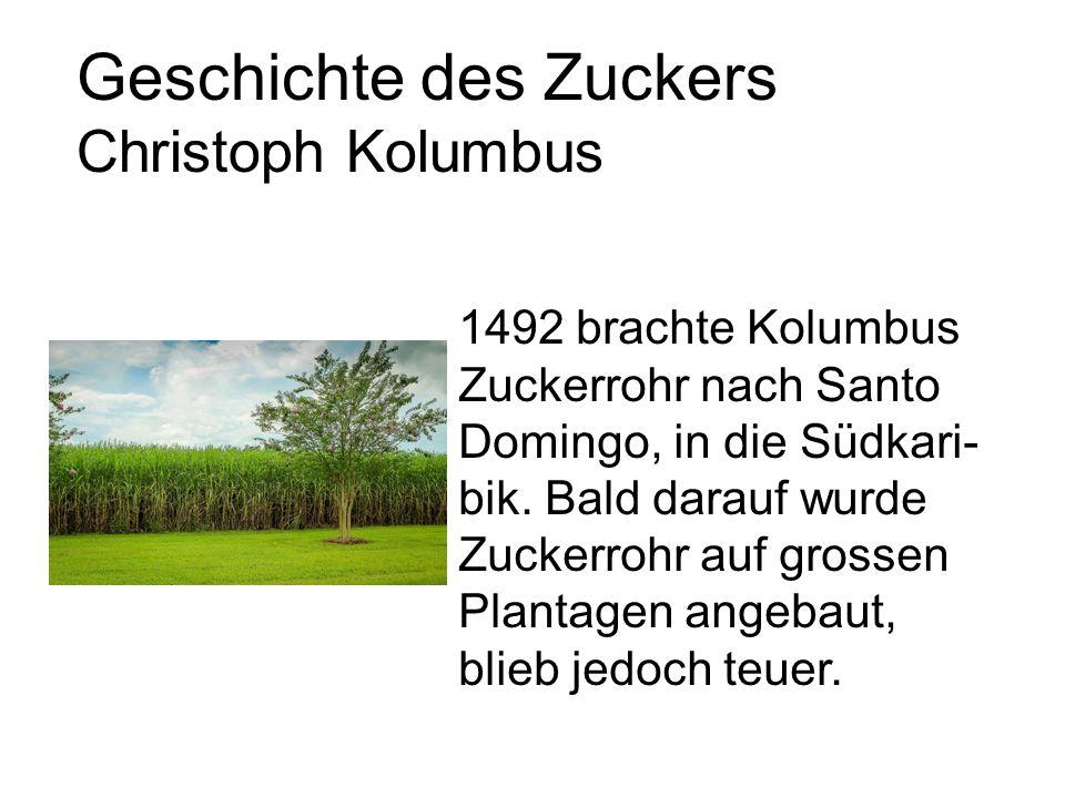 Geschichte des Zuckers Christoph Kolumbus 1492 brachte Kolumbus Zuckerrohr nach Santo Domingo, in die Südkari- bik.