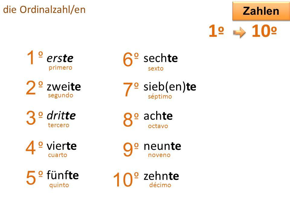 die Ordinalzahl/en 1º1º 2º2º 3º3º 4º4º 5º...