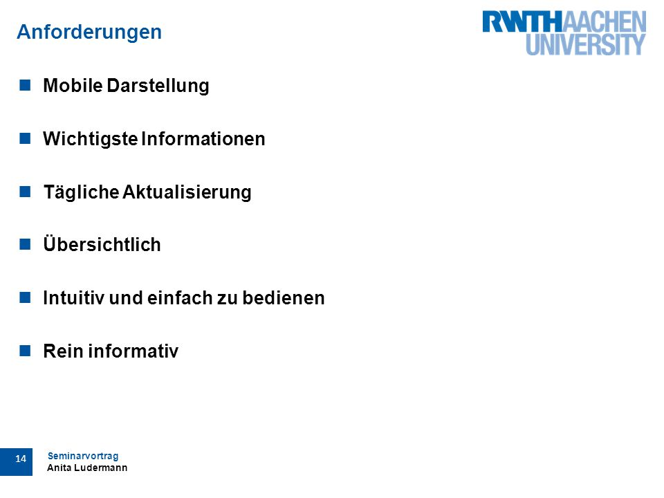 Seminarvortrag Anita Ludermann 14 Anforderungen Mobile Darstellung Wichtigste Informationen Tägliche Aktualisierung Übersichtlich Intuitiv und einfach zu bedienen Rein informativ