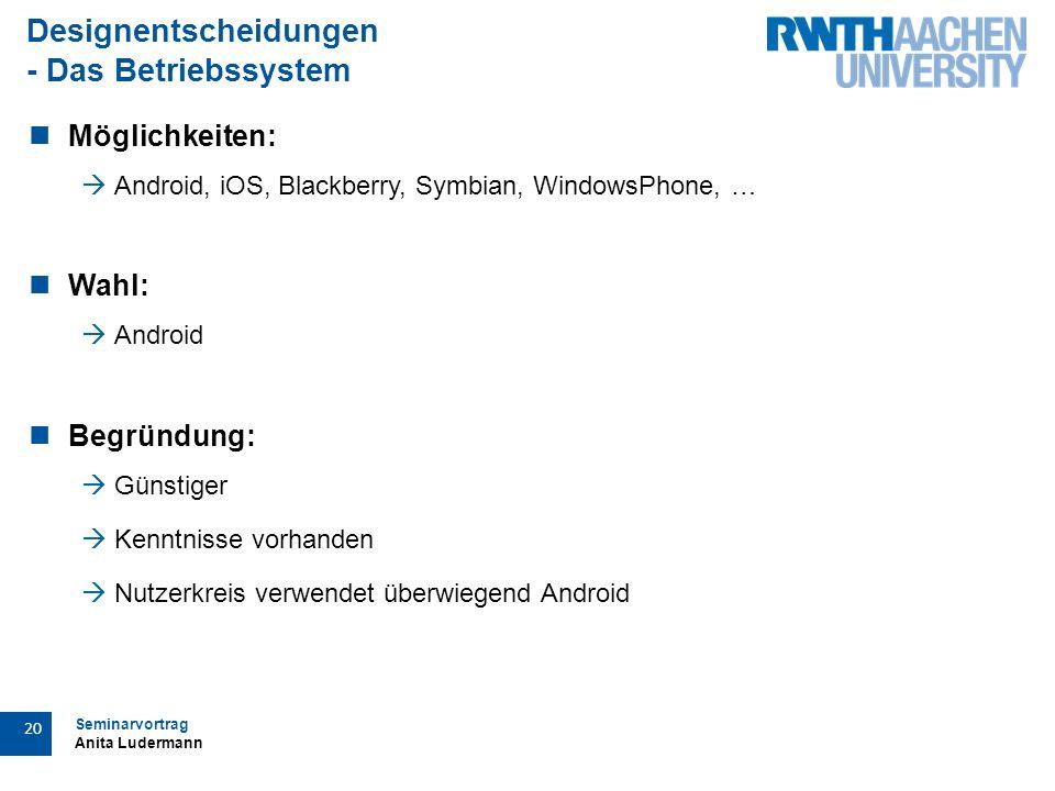 Seminarvortrag Anita Ludermann 20 Designentscheidungen - Das Betriebssystem Möglichkeiten:  Android, iOS, Blackberry, Symbian, WindowsPhone, … Wahl:  Android Begründung:  Günstiger  Kenntnisse vorhanden  Nutzerkreis verwendet überwiegend Android