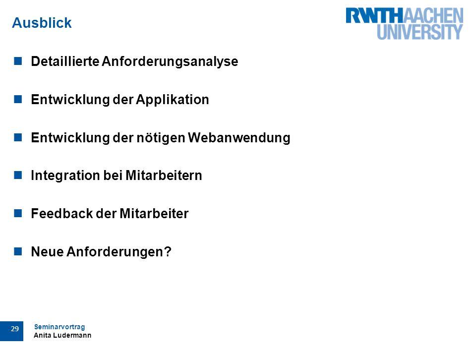 Seminarvortrag Anita Ludermann 29 Ausblick Detaillierte Anforderungsanalyse Entwicklung der Applikation Entwicklung der nötigen Webanwendung Integration bei Mitarbeitern Feedback der Mitarbeiter Neue Anforderungen