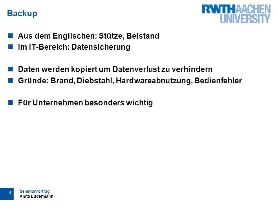 """Seminarvortrag Anita Ludermann 4 Backup am RZ Das RZ """"bietet mit dem zentralen Backup-Dienst allen Instituten […] die Möglichkeit, ihre Daten versioniert zu sichern und verläßlich wiederherstellen zu können (RZ-Backup/Restore, 2013)"""