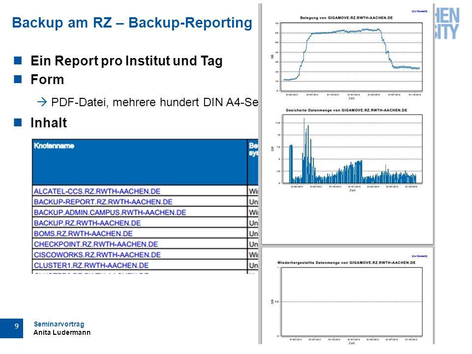 Seminarvortrag Anita Ludermann 10 Backup am RZ – Backup-Reporting Bereitstellung  per Link  alle zwei Wochen neu  E-Mail an Ansprechpartner  Im Backup-Portal Verlinkung Backup- Reporting