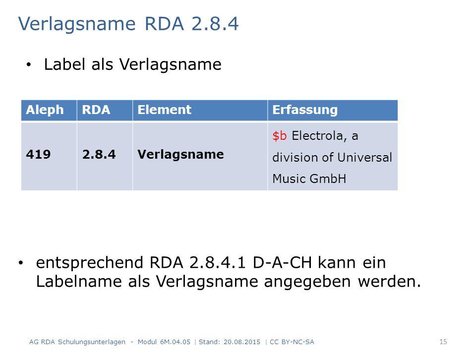 Verlagsname RDA 2.8.4 entsprechend RDA 2.8.4.1 D-A-CH kann ein Labelname als Verlagsname angegeben werden.