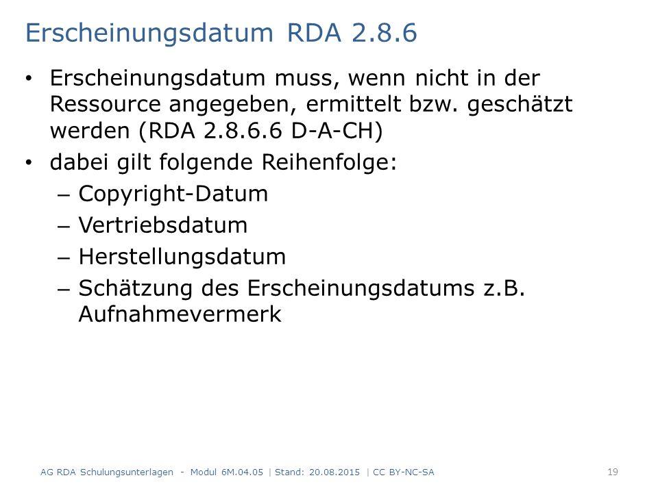 Erscheinungsdatum RDA 2.8.6 Erscheinungsdatum muss, wenn nicht in der Ressource angegeben, ermittelt bzw.