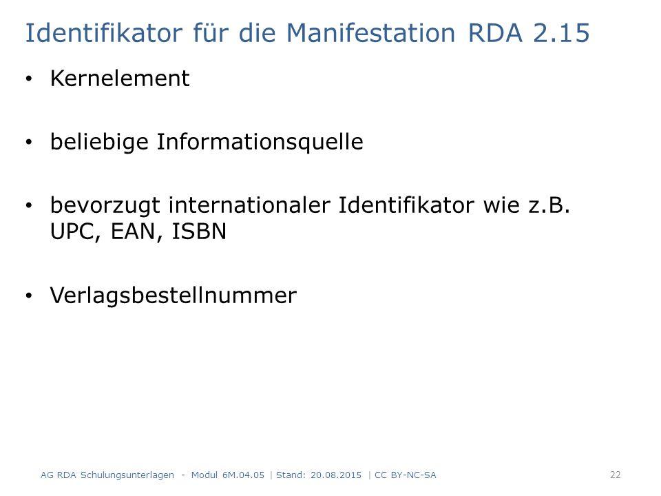Identifikator für die Manifestation RDA 2.15 Kernelement beliebige Informationsquelle bevorzugt internationaler Identifikator wie z.B. UPC, EAN, ISBN