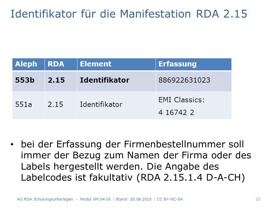 Identifikator für die Manifestation RDA 2.15 bei der Erfassung der Firmenbestellnummer soll immer der Bezug zum Namen der Firma oder des Labels hergestellt werden.
