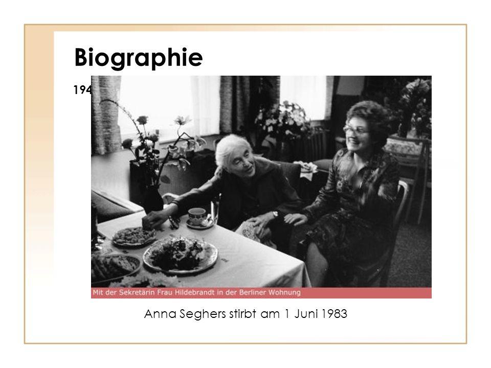 Biographie 1947 Georg-Büchner-Preis 1950 Weltfriedensrates 1975 Kulturpreis des Weltfriedensrates Ehrenbürgerschaft von Berlin (Ost) Anna Seghers stir