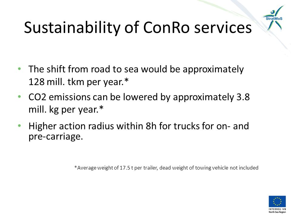 Sustainability of ConRo services The shift from road to sea would be approximately 128 mill.