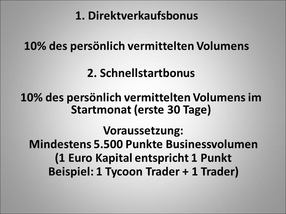 1. Direktverkaufsbonus 10% des persönlich vermittelten Volumens 2. Schnellstartbonus 10% des persönlich vermittelten Volumens im Startmonat (erste 30