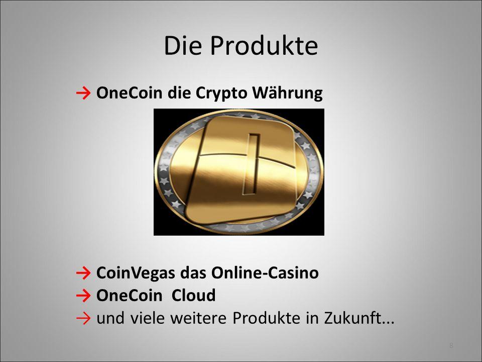 Die Produkte → OneCoin die Crypto Währung → CoinVegas das Online-Casino → OneCoin Cloud → und viele weitere Produkte in Zukunft... 8