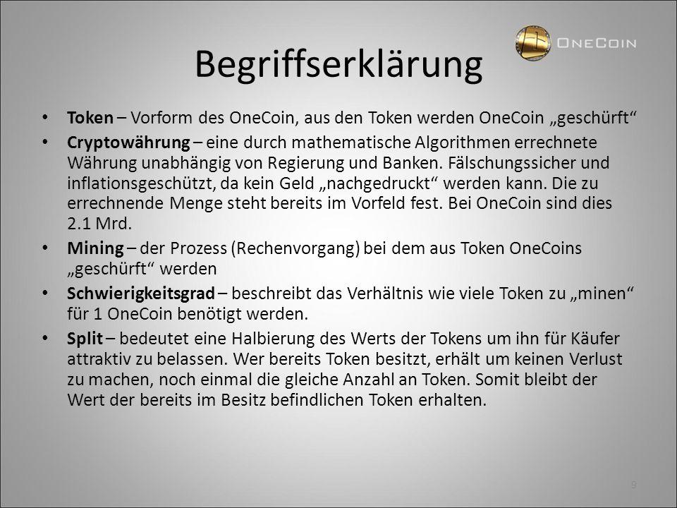 """Begriffserklärung Token – Vorform des OneCoin, aus den Token werden OneCoin """"geschürft"""" Cryptowährung – eine durch mathematische Algorithmen errechnet"""