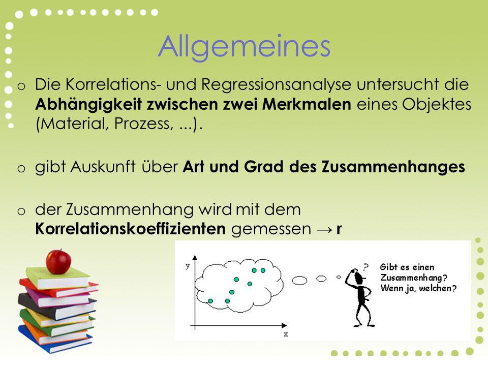 Allgemeines o Die Korrelations- und Regressionsanalyse untersucht die Abhängigkeit zwischen zwei Merkmalen eines Objektes (Material, Prozess,...).