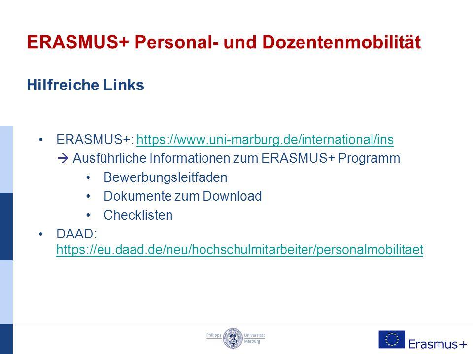ERASMUS+ Personal- und Dozentenmobilität Bewerbung und Fristen  Bewerbung um einen Austauschplatz  bei der Gastinstitution oder der Gastuniversität  Bewerbung um eine Mobilitäts-Förderung  beim Referat für Europäische Bildungsprogramme  Website: Online-Bewerbungsformular und Dokumentvorlagen Bewerbungsfristen: 15.12.