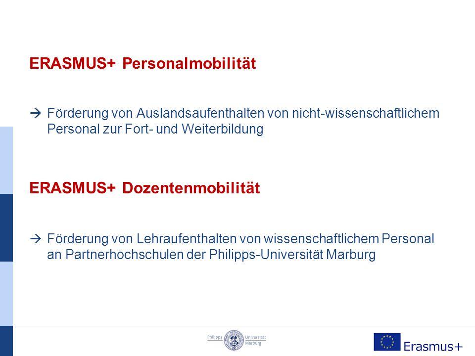 ERASMUS+ Aufenthalte in Europa Teilnehmende Länder: Alle EU-Mitgliedstaaten, sowie Island, Liechtenstein, Norwegen und Türkei Internationale Mobilität (außereuropäisches Ausland): Ägypten, Israel, Jordanien, Marokko