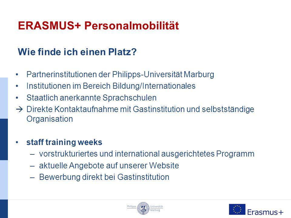 ERASMUS+ Personalmobilität Welche Möglichkeiten habe ich.
