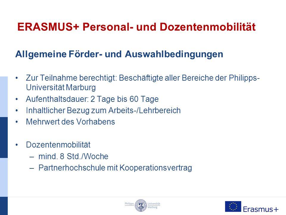 ERASMUS+ Dozentenmobilität Welche Möglichkeiten habe ich.