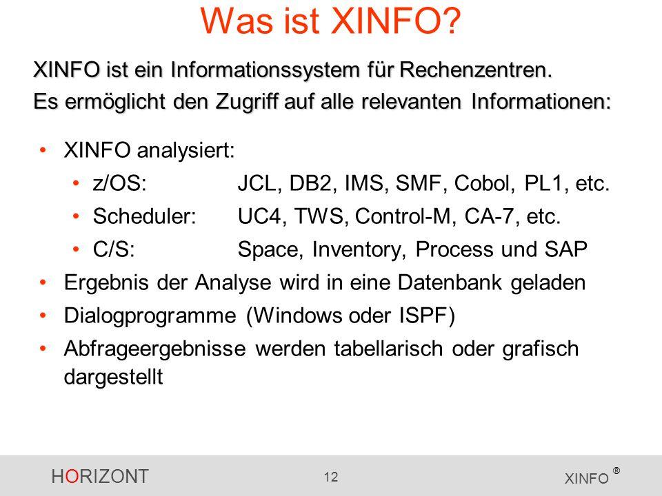 HORIZONT 12 XINFO ® Was ist XINFO. XINFO analysiert: z/OS:JCL, DB2, IMS, SMF, Cobol, PL1, etc.