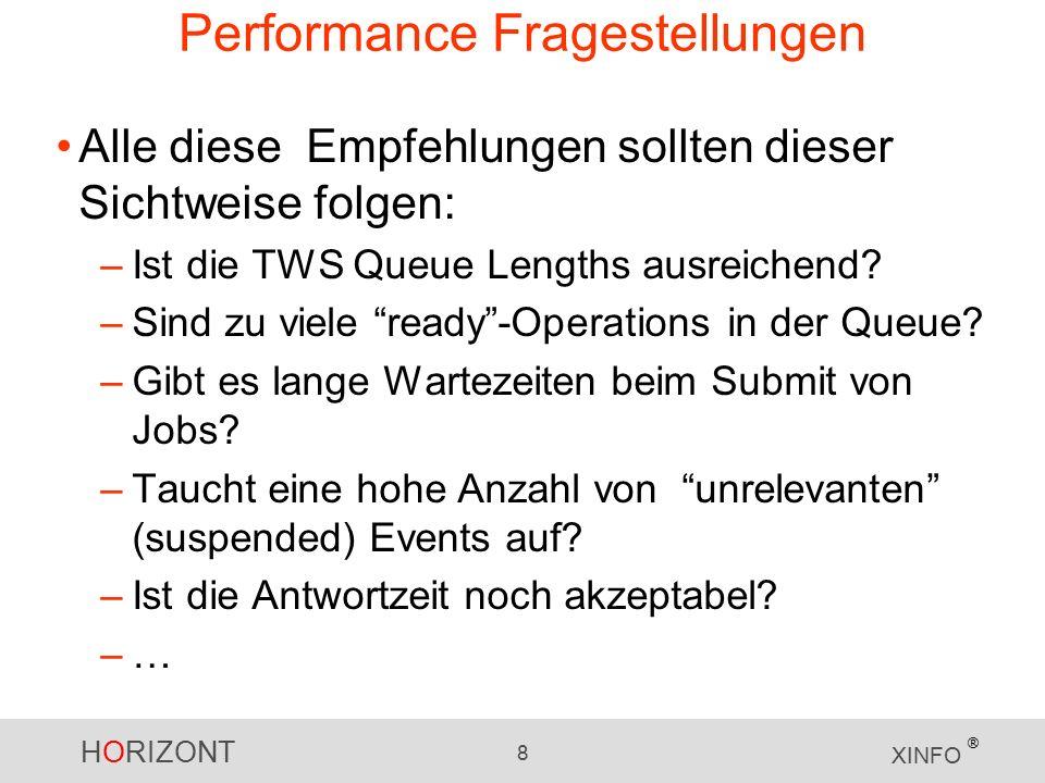 HORIZONT 8 XINFO ® Performance Fragestellungen Alle diese Empfehlungen sollten dieser Sichtweise folgen: –Ist die TWS Queue Lengths ausreichend.