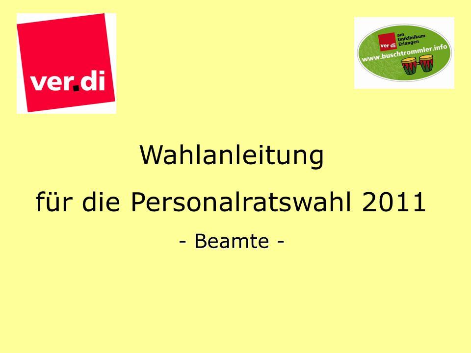 Wahlanleitung für die Personalratswahl 2011 - Beamte -