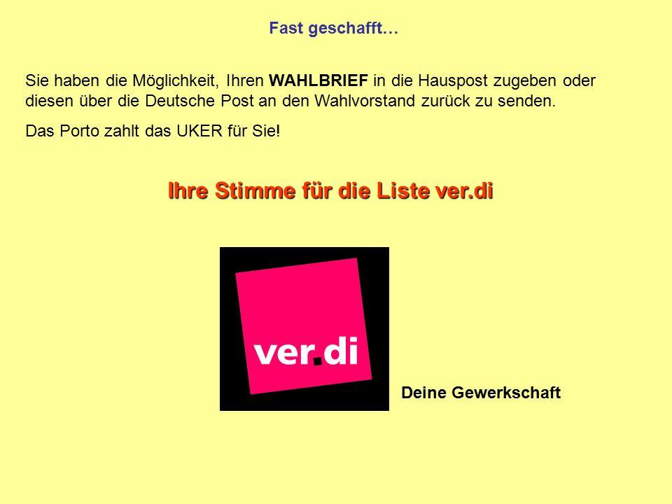 Fast geschafft… Sie haben die Möglichkeit, Ihren WAHLBRIEF in die Hauspost zugeben oder diesen über die Deutsche Post an den Wahlvorstand zurück zu se