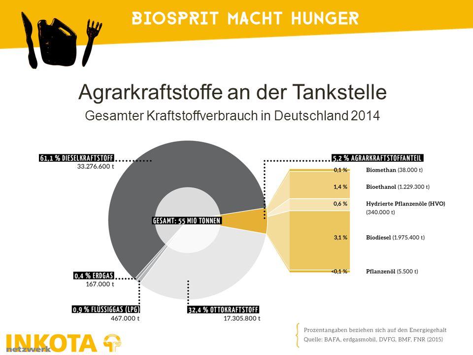 Agrarkraftstoffe an der Tankstelle Gesamter Kraftstoffverbrauch in Deutschland 2014