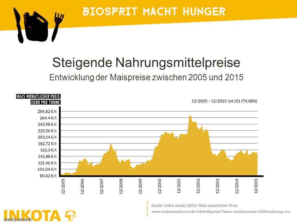 Steigende Nahrungsmittelpreise Entwicklung der Maispreise zwischen 2005 und 2015