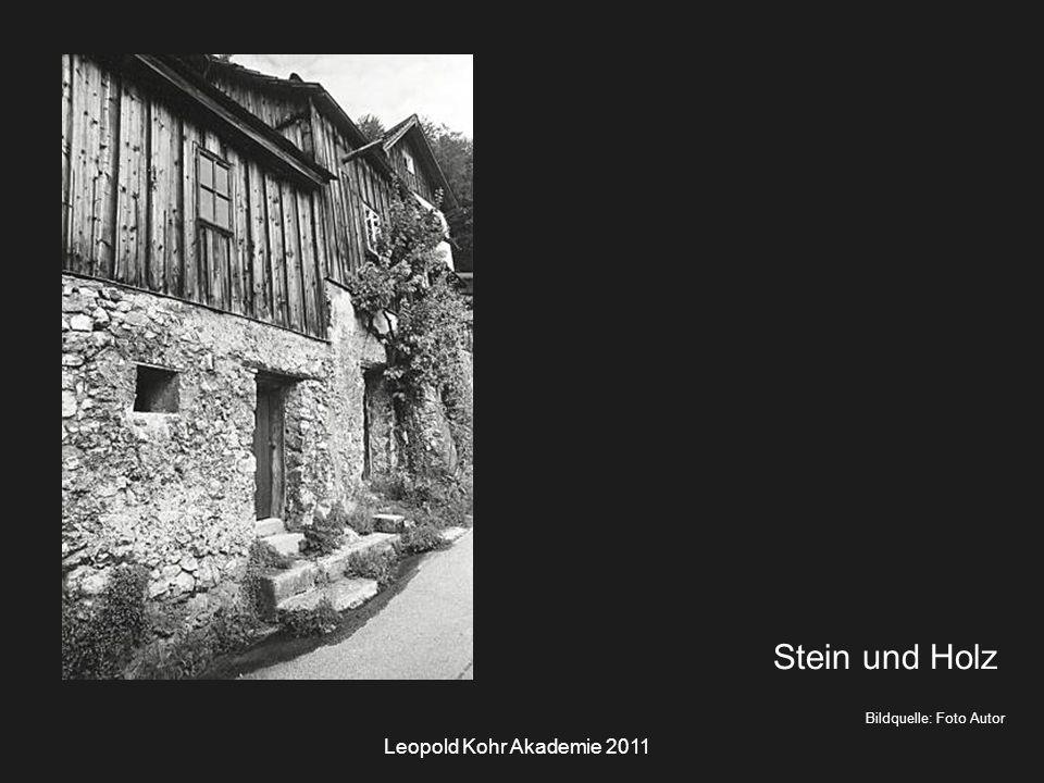 Leopold Kohr Akademie 2011 Bildquelle: Foto Autor Stein und Holz