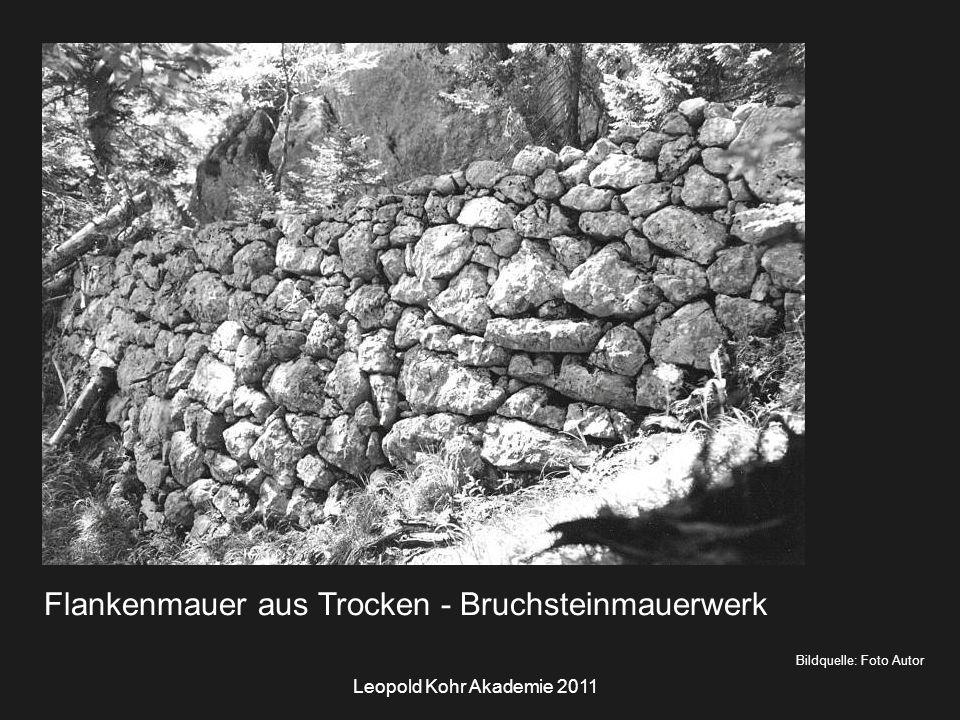 Leopold Kohr Akademie 2011 Bildquelle: Foto Autor Flankenmauer aus Trocken - Bruchsteinmauerwerk