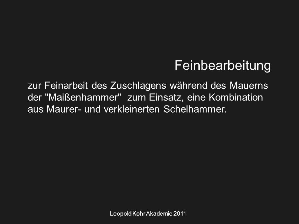 Leopold Kohr Akademie 2011 Feinbearbeitung zur Feinarbeit des Zuschlagens während des Mauerns der Maißenhammer zum Einsatz, eine Kombination aus Maurer- und verkleinerten Schelhammer.