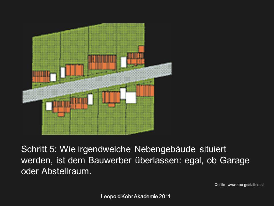 Leopold Kohr Akademie 2011 Quelle: www.noe-gestalten.at Schritt 5: Wie irgendwelche Nebengebäude situiert werden, ist dem Bauwerber überlassen: egal, ob Garage oder Abstellraum.