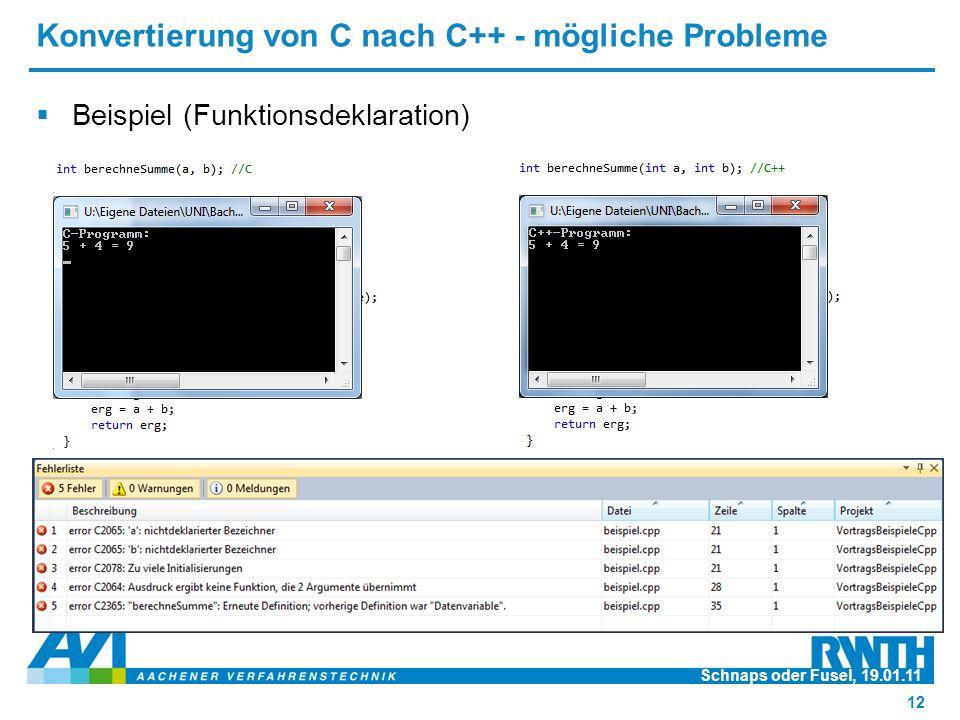 Konvertierung von C nach C++ - mögliche Probleme  Beispiel (Funktionsdeklaration) Schnaps oder Fusel, 19.01.11 12