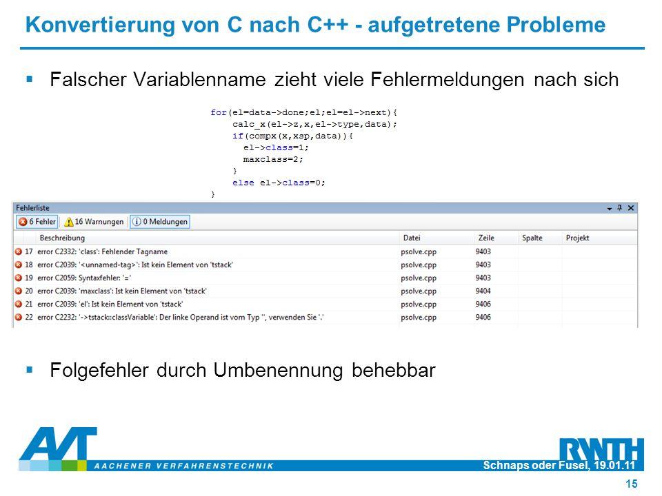 Konvertierung von C nach C++ - aufgetretene Probleme  Falscher Variablenname zieht viele Fehlermeldungen nach sich  Folgefehler durch Umbenennung behebbar Schnaps oder Fusel, 19.01.11 15
