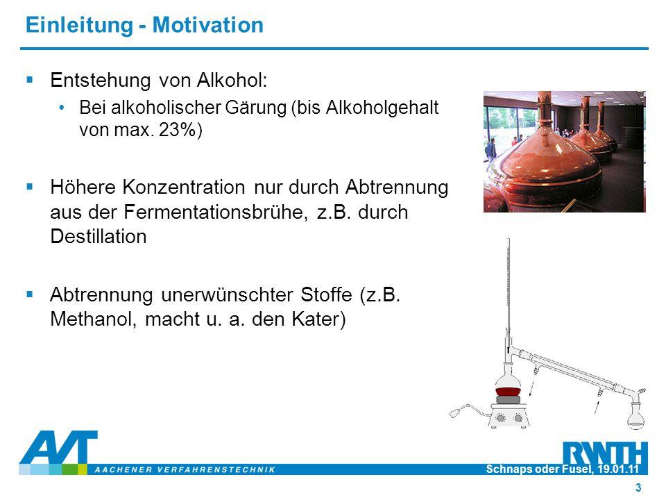 Einleitung - Motivation  Entstehung von Alkohol: Bei alkoholischer Gärung (bis Alkoholgehalt von max. 23%)  Höhere Konzentration nur durch Abtrennun