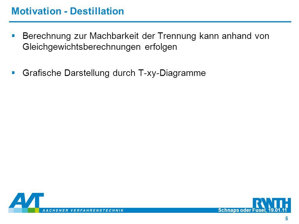 Motivation - Destillation  Berechnung zur Machbarkeit der Trennung kann anhand von Gleichgewichtsberechnungen erfolgen  Grafische Darstellung durch T-xy-Diagramme Schnaps oder Fusel, 19.01.11 5