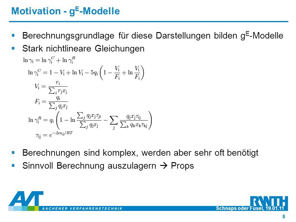Motivation - g E -Modelle  Berechnungsgrundlage für diese Darstellungen bilden g E -Modelle  Stark nichtlineare Gleichungen  Berechnungen sind komplex, werden aber sehr oft benötigt  Sinnvoll Berechnung auszulagern  Props Schnaps oder Fusel, 19.01.11 8