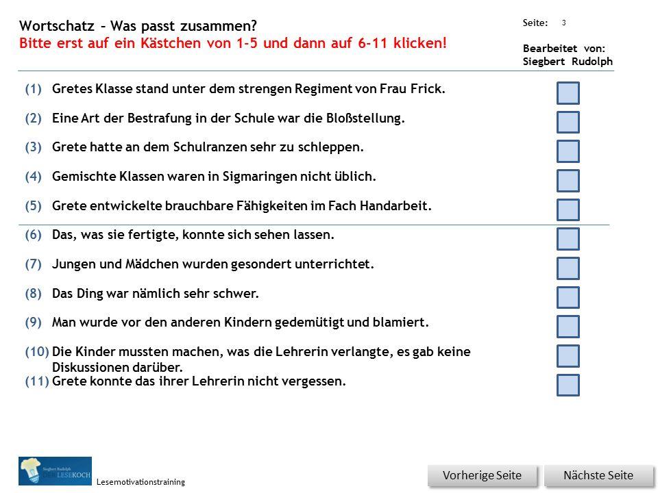 Übungsart: Seite: Bearbeitet von: Siegbert Rudolph Lesemotivationstraining 2 13 Die gute alte Schule – bitte klicken.