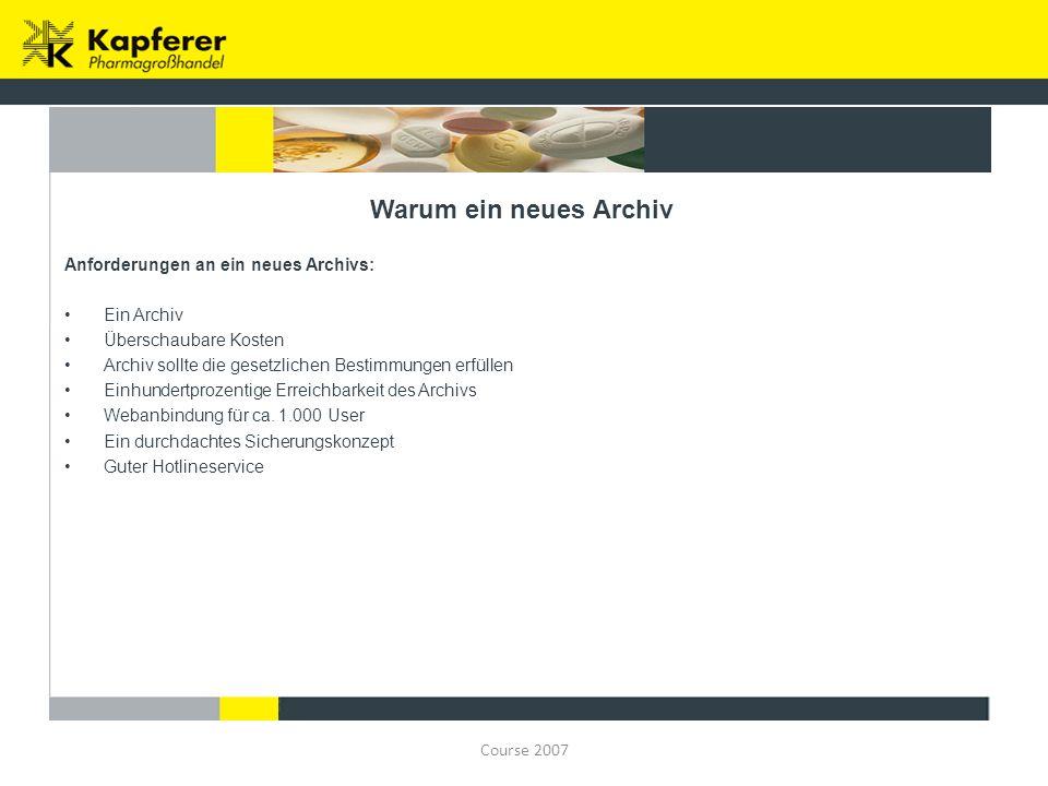 Course 2007 Situation neues Archiv Das Archiv wurde ausgelagert zu DECODETRON http://www.decodetron.de/http://www.decodetron.de/ Überschaubare Kosten ca.