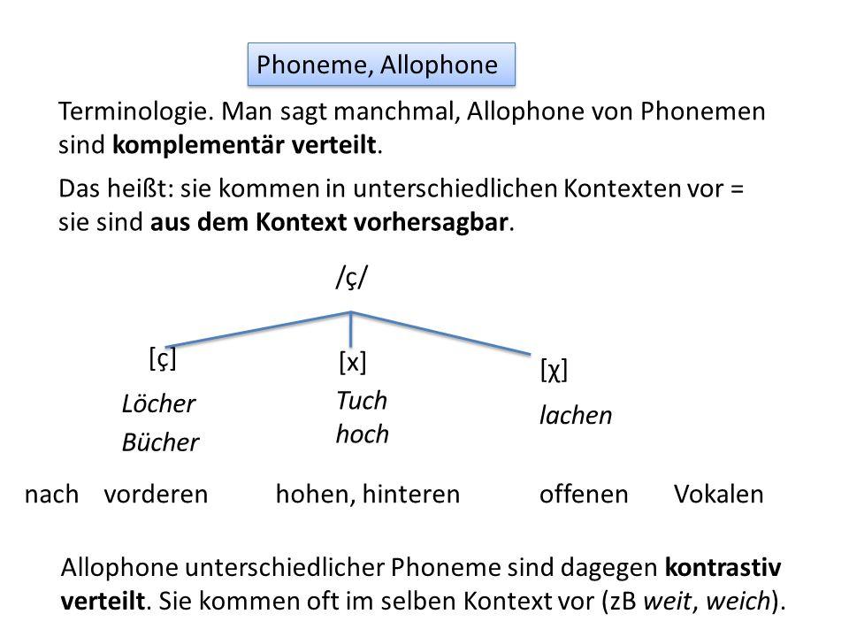 Phoneme, Allophone Terminologie.
