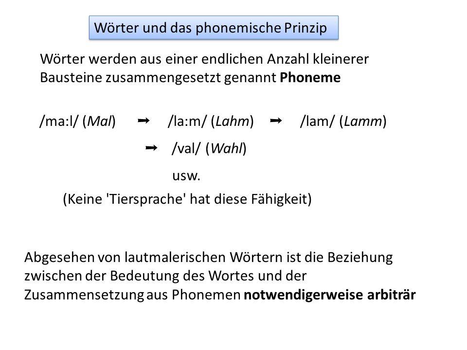 Wörter werden aus einer endlichen Anzahl kleinerer Bausteine zusammengesetzt genannt Phoneme Abgesehen von lautmalerischen Wörtern ist die Beziehung zwischen der Bedeutung des Wortes und der Zusammensetzung aus Phonemen notwendigerweise arbiträr /ma:l/ (Mal) ➝ /la:m/ (Lahm) ➝ /val/ (Wahl) ➝ /lam/ (Lamm) usw.