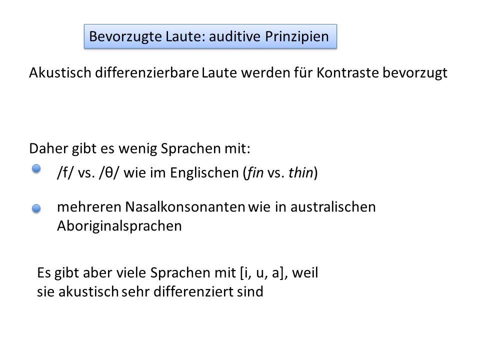 Bevorzugte Laute: auditive Prinzipien Akustisch differenzierbare Laute werden für Kontraste bevorzugt Daher gibt es wenig Sprachen mit: /f/ vs.