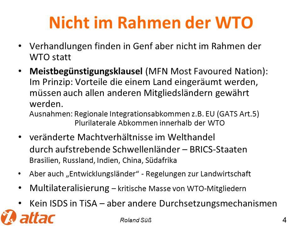GATSplus Vier Dienstleistungsarten (modes): 1.Grenzüberschreitende Lieferung (GATS Modus 1) 2.Konsum von Dienstleistungen im Ausland (GATS Modus 2) 3.Ausländische Präsenz und Direktinvestitionen (GATS Modus 3) Eröffnung einer Bank, Wasserversorgung 4.Vorübergehende Migration von Dienstleistungserbringern (GATS Modus 4) US-Kongress hat dem Handelsbeauftragten untersagt über Mode 4 zu verhandeln.