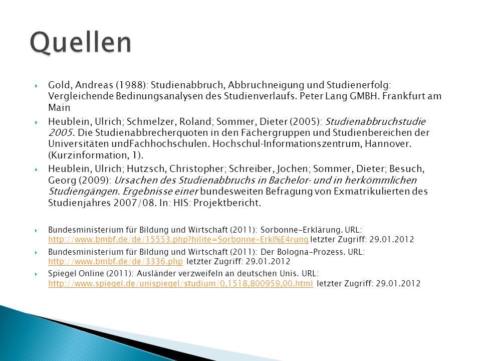  Gold, Andreas (1988): Studienabbruch, Abbruchneigung und Studienerfolg: Vergleichende Bedinungsanalysen des Studienverlaufs.