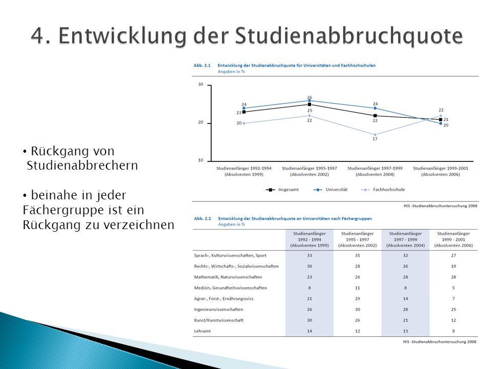 von 27 % (Abschlussjahrgang 2004) auf 10% (Abschlussjahrgang 2006) 42% Studienabbrecher Anfang der neunziger Jahre
