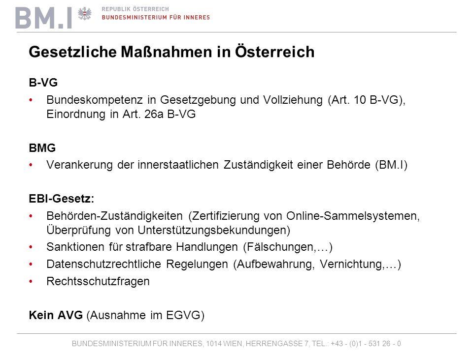 BUNDESMINISTERIUM FÜR INNERES, 1014 WIEN, HERRENGASSE 7, TEL.: +43 - (0)1 - 531 26 - 0 EBI in Österreich, Zeitschiene Anmeldung Einreichung Online-Sammelsystem Zertifizierung Online-Sammelsystem Beginn Sammlung Ende Sammlung Bescheinigung Unterstützungsbekundungen Aktenvernichtung 2 Monate12 Monate3 Monatevariabel 18 Monate 1 Monat Registrierung EU-Kommission